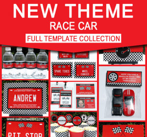 Race Car Birthday Party Printables - Editable Templates