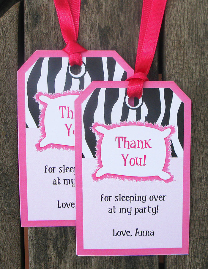 printable zebra sleepover party theme thank you tags