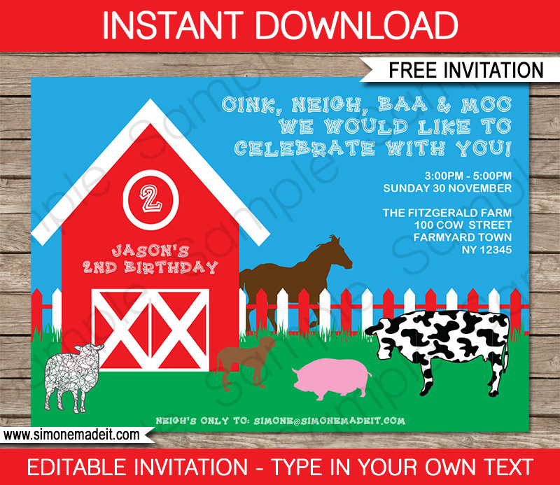 Free Barnyard Farm Printable Invitation
