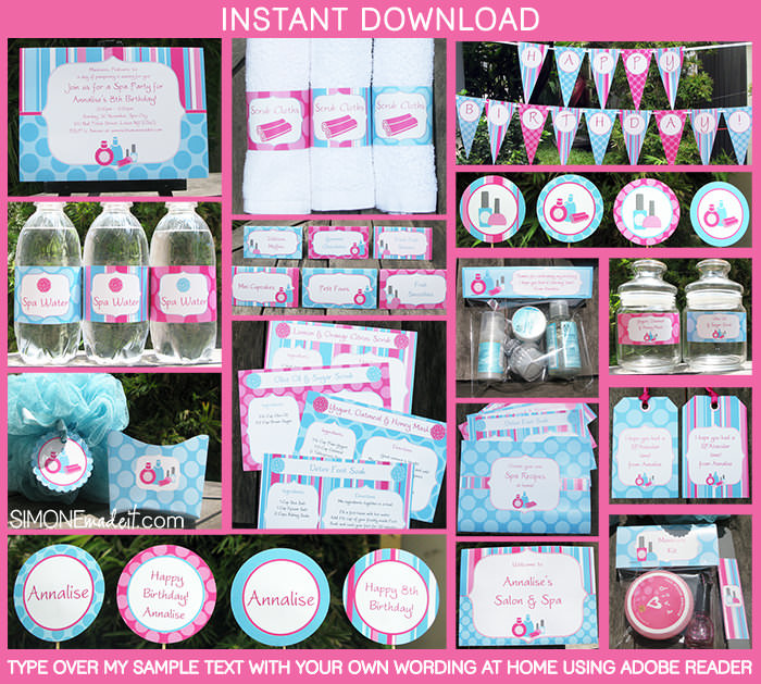 SPA Theme party printables
