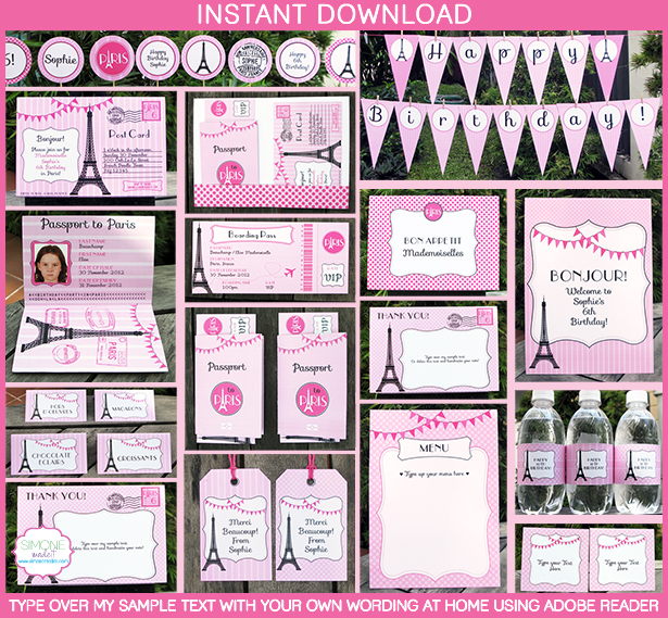 Party in Paris Invitations & Printable Collection | Passport to Paris ...