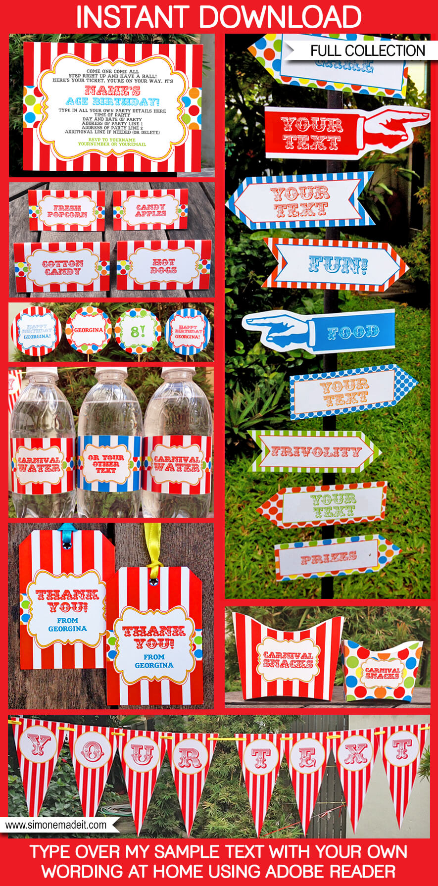 Circus Or Carnival Party Printables Invitations Decorations Birthday Editable Theme Templates