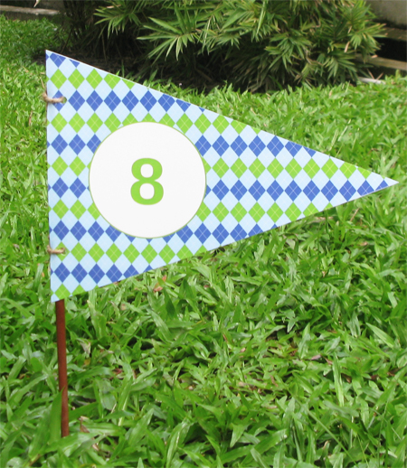 Golf Birthday Party Hole Flag | Printable Template