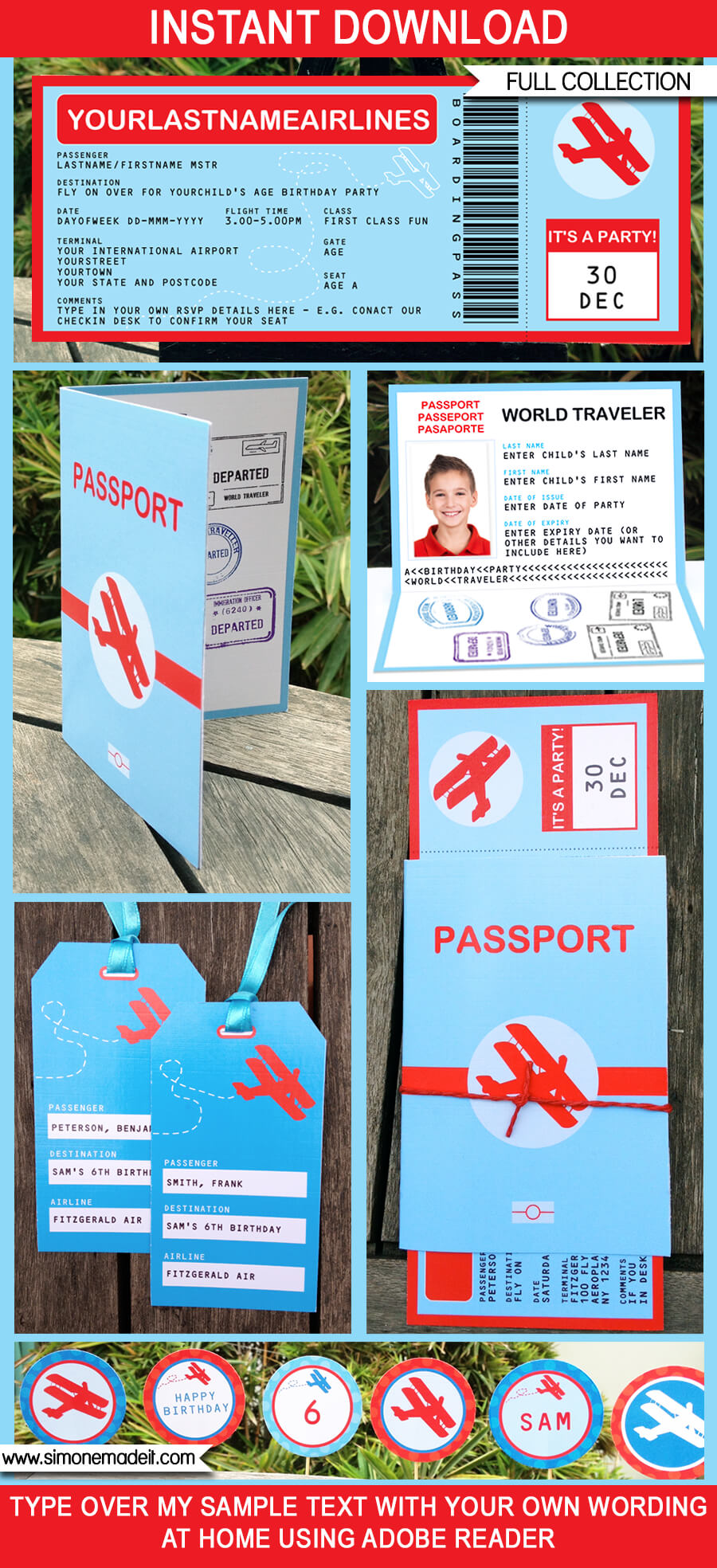 Airplane Party Printables, Invitations, Decorations | Boarding Pass | Airplane Ticket | Passport | Birthday Party | Editable DIY Theme Templates | INSTANT DOWNLOADS $12.50 via SIMONEmadeit.com