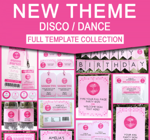 Disco Dance Birthday Party Printables - Editable Templates