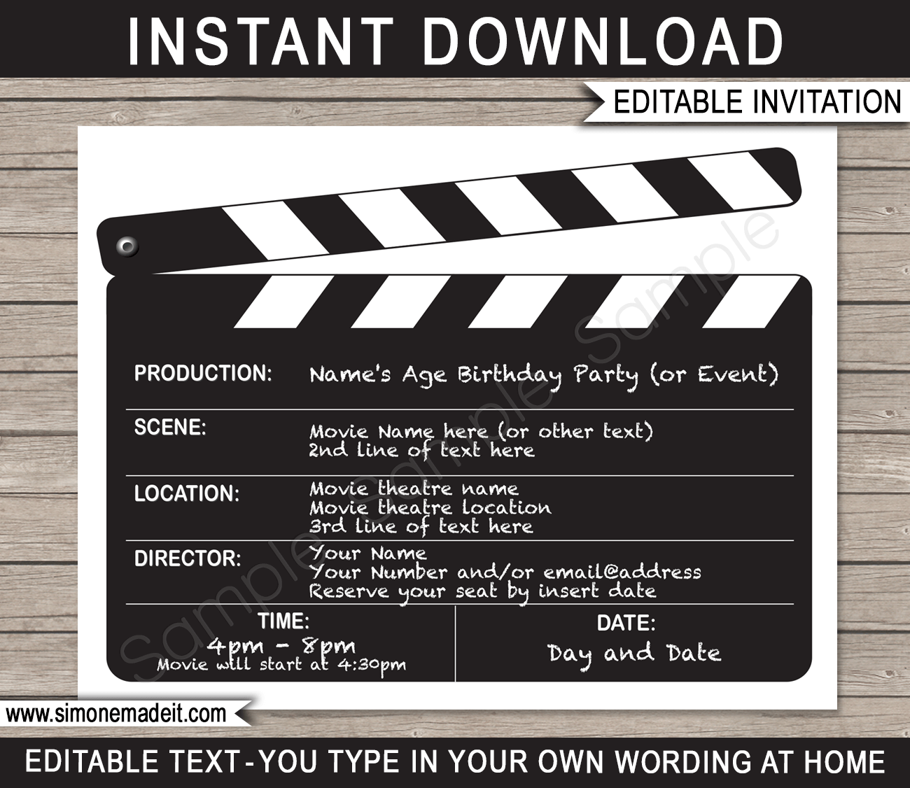 Invitations | Clapboard | Birthday Party | Editable DIY Theme Template ...
