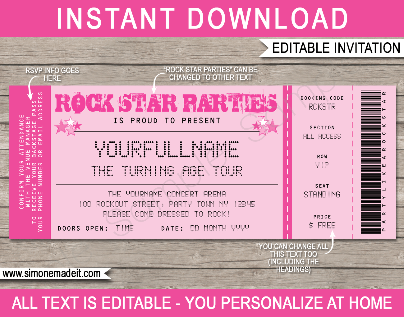 ... Ticket Invitations | Editable DIY Theme Template | INSTANT DOWNLOAD $7