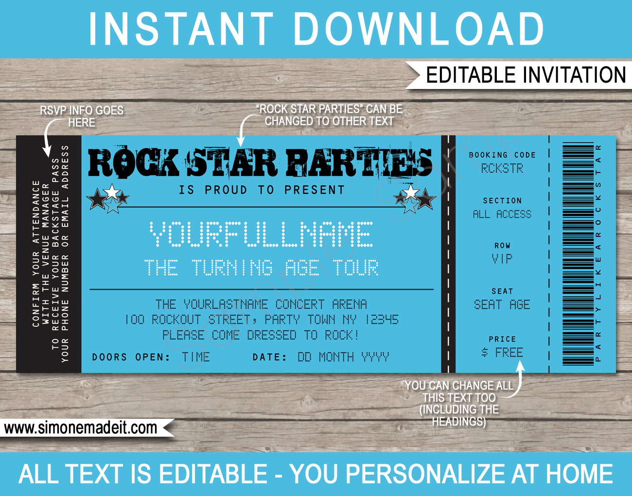 Rockstar Party Ticket Invitation Template Blue – Party Ticket Invitations