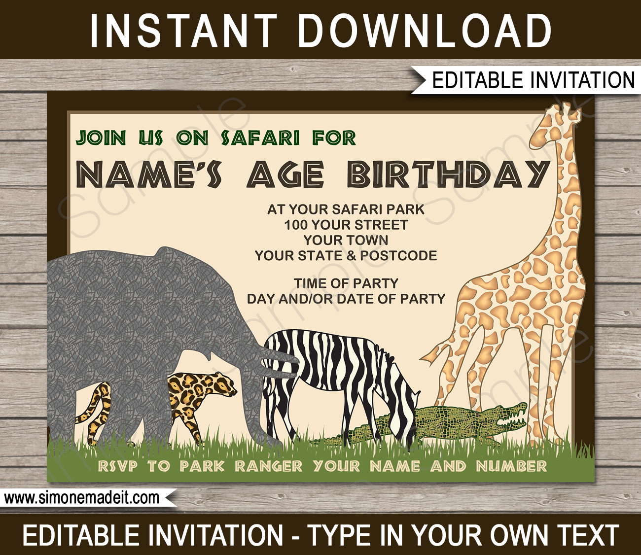 Safari Or Zoo Party Invitations Template