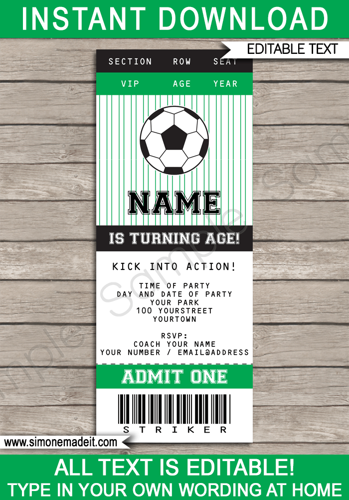 Football ticket invitations templates free soccer party ticket invitations football birthday party editable stopboris