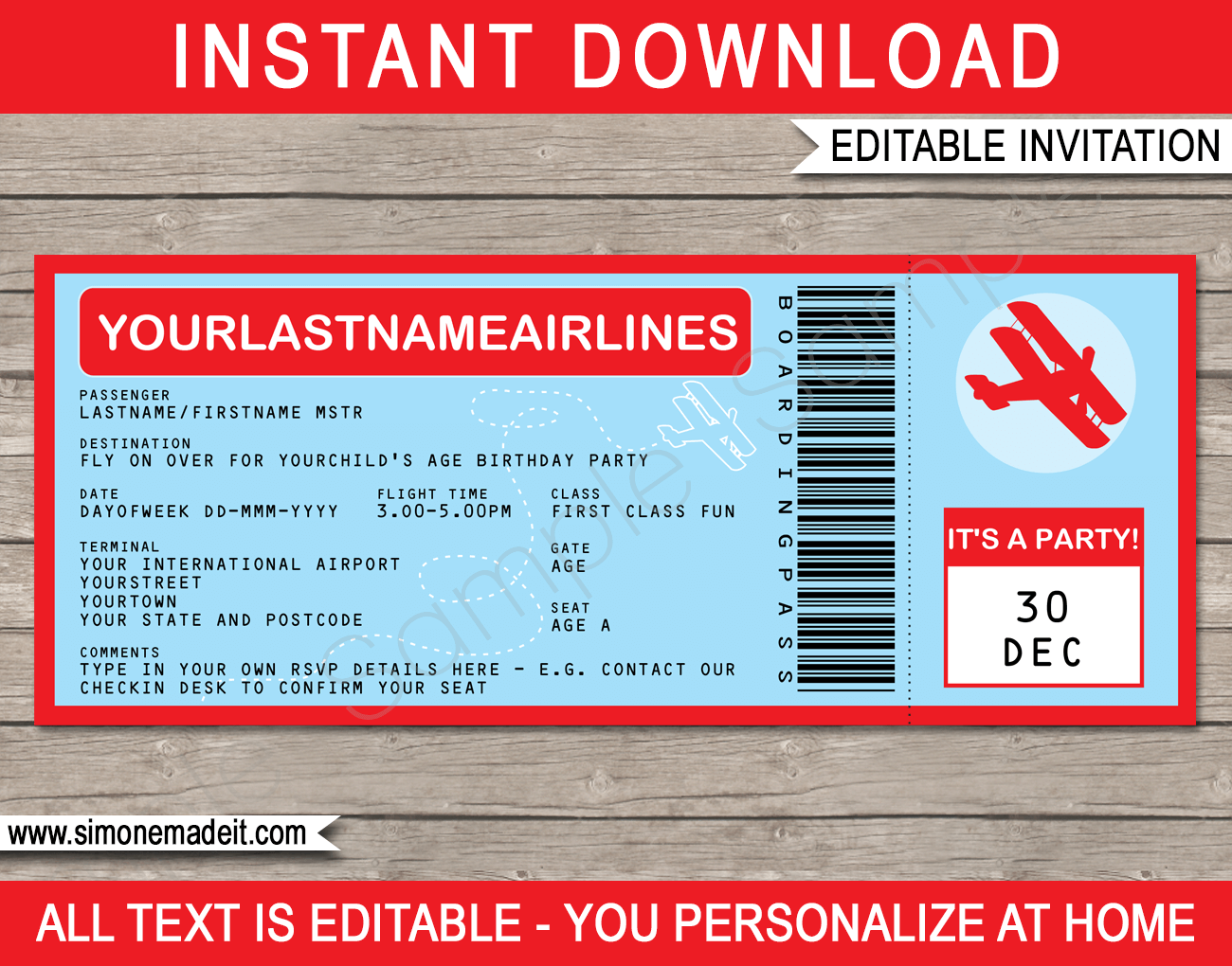 Printable Vintage Airplane Party Collection Diy By: Airplane Boarding Pass Invitations Template