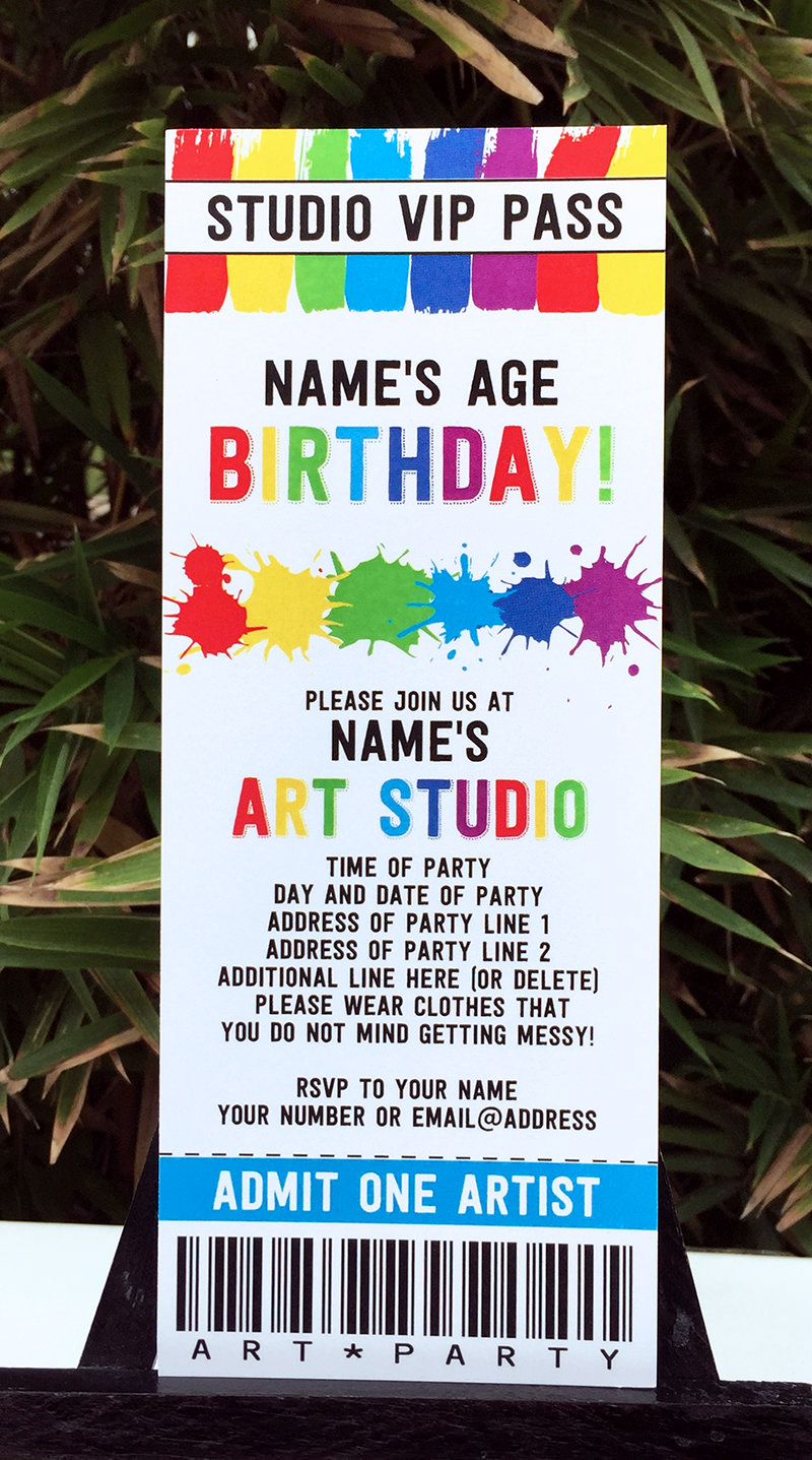 art birthday party theme printables  paint party, party invitations