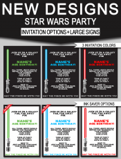 Star Wars Birthday Party Invitations & Signs | New Designs | Editable Star Wars Theme Templates
