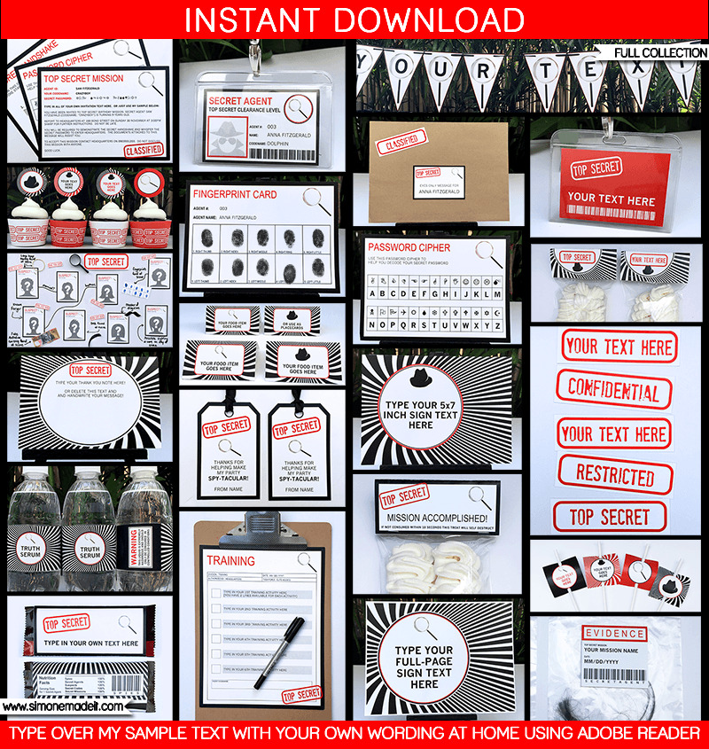Secret Agent Birthday Party Invitations – Clue Party Invitations