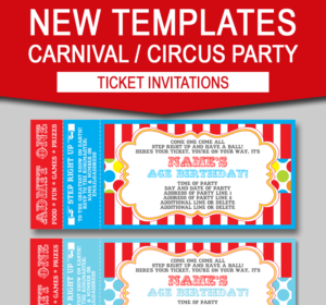 Editable Carnival Ticket Invitations | Editable Circus Ticket Invitations | Birthday Party | Big Top Circus | Editable and Printable Invitation Templates | INSTANT DOWNLOADS $7.50 via simonemadeit.com