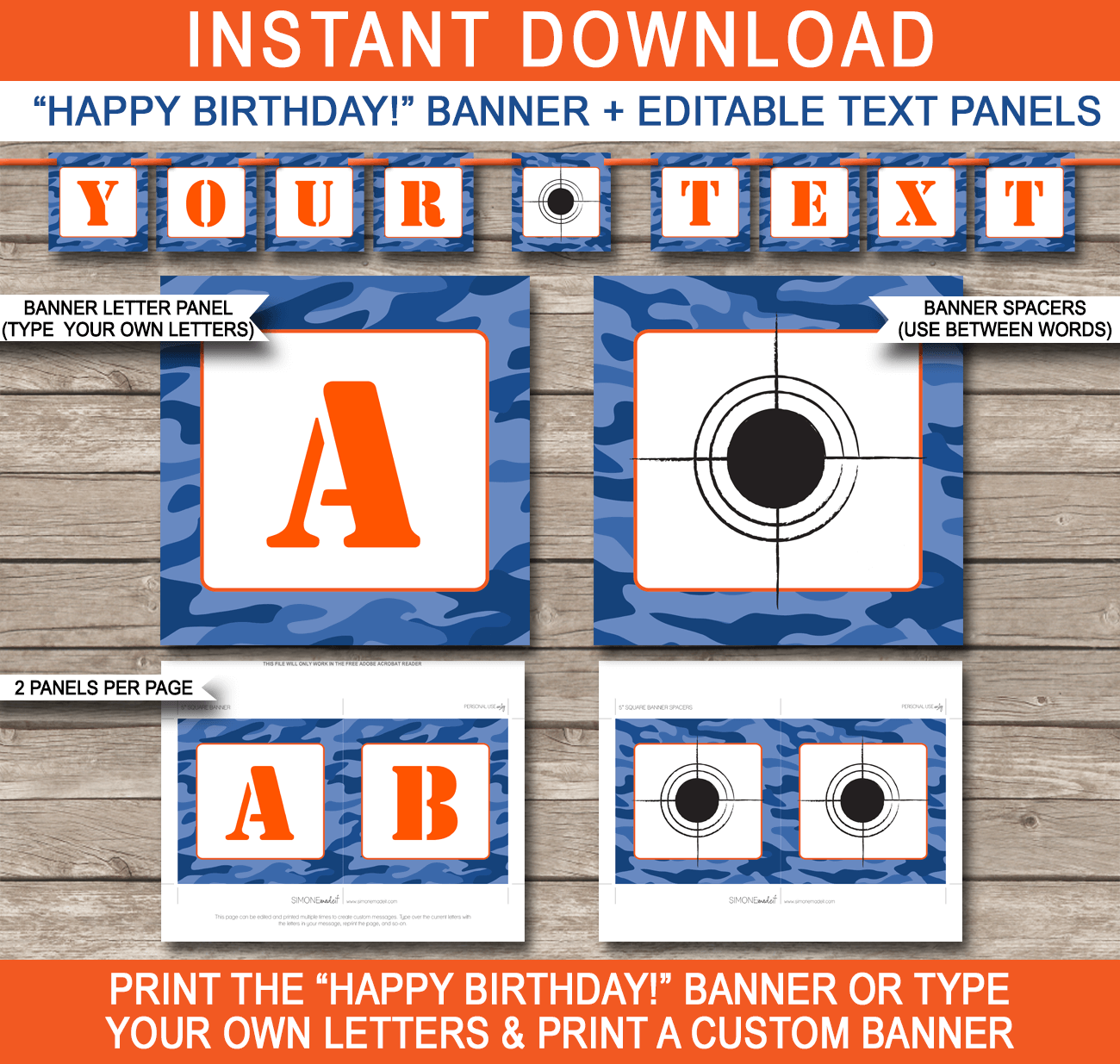 Nerf Party Banner | Happy Birthday Banner | Editable and Printable DIY Templates | Instant Download