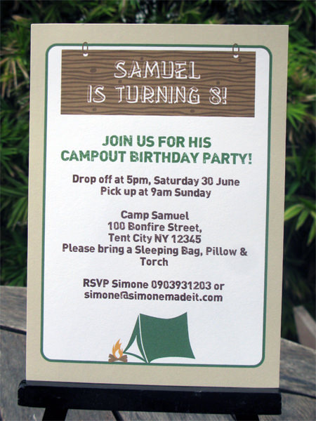 Camping Birthday Party invitations | Printable Template
