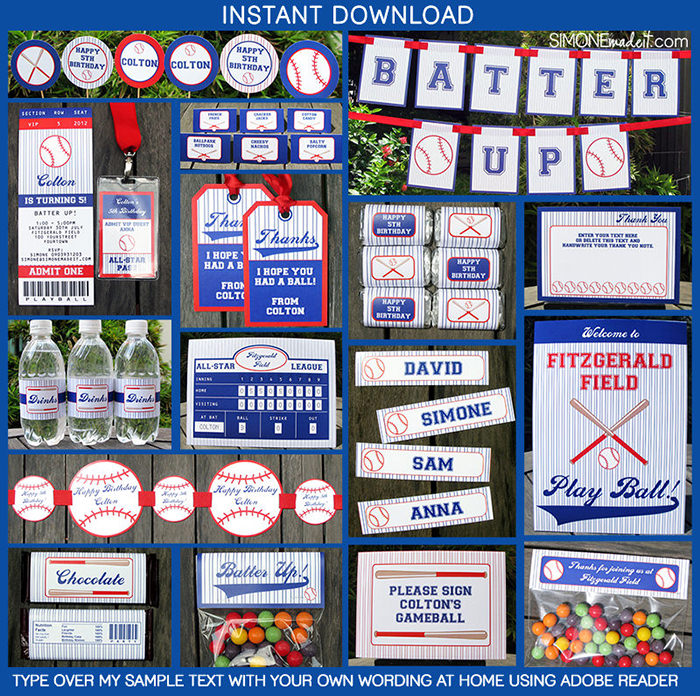 Baseball Birthday Party Invitations | Baseball Party Decorations | Theme Templates