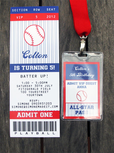 Baseball Birthday Party Ticket Invitations | printable template