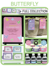 Printable Butterfly Party Templates