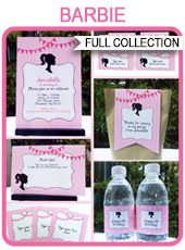 Printable Barbie Party Templates