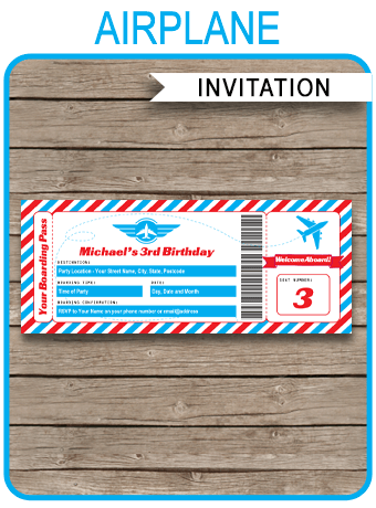 Airplane Ticket Invitations Template