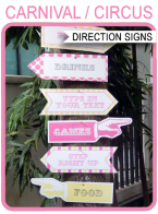 Printable Carnival Signs – Direction Arrows – pink/yellow