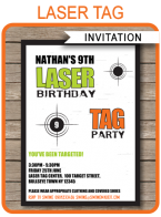 Laser Tag Invitation Template – green/orange