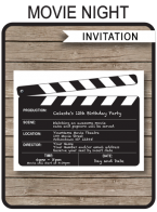 Movie Night Party Invitations Template
