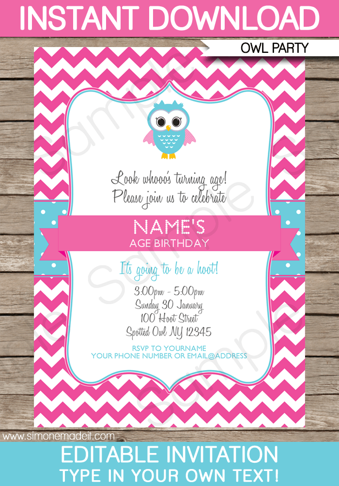 Owl Party Invitations Pink Birthday Party – Owl Party Invitations