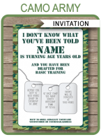 Camo Invitations Template – green