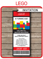 Lego Ticket Invitation | Lego Invitations | Birthday Party Template