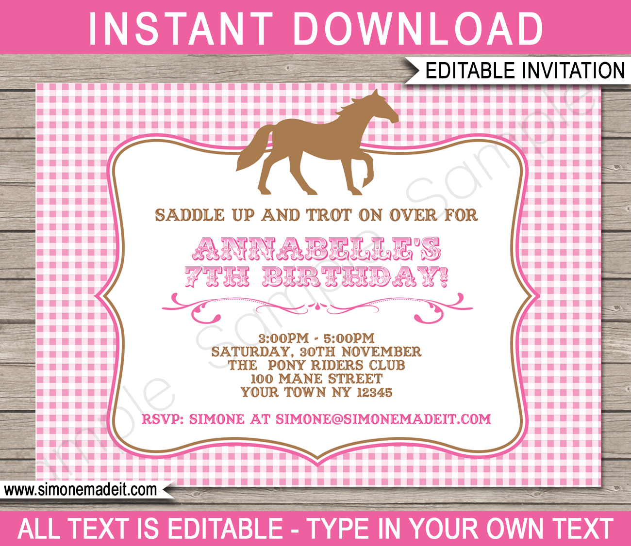 pony party invitations  horse party  birthday party, Party invitations