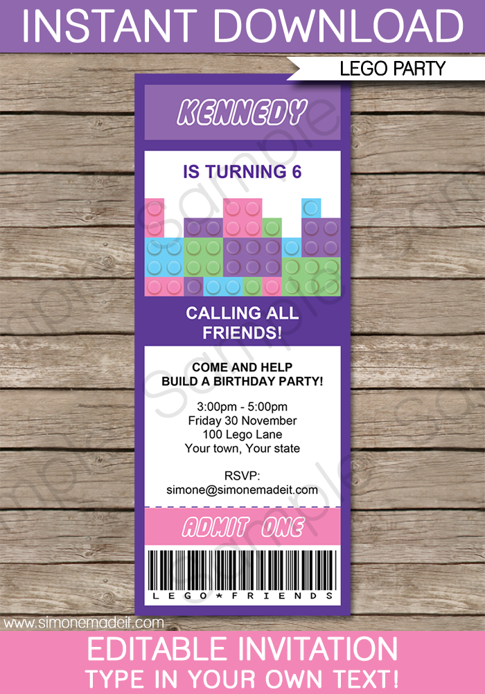 ticket template for mac - lego friends ticket invitations birthday party template