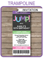 Trampoline Party Ticket Invitations | Trampoline Birthday Party | Girls