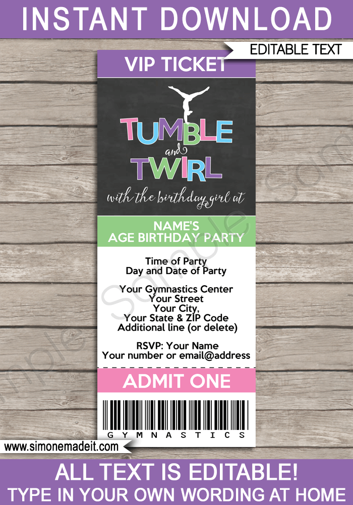 Gymnastics Party Ticket Invitations – Party Ticket Invitations
