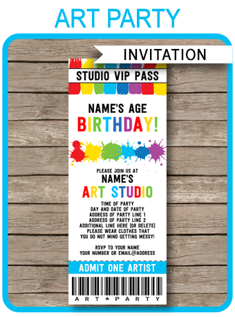 Art party ticket invitations paint party template for Where can i buy party invitations