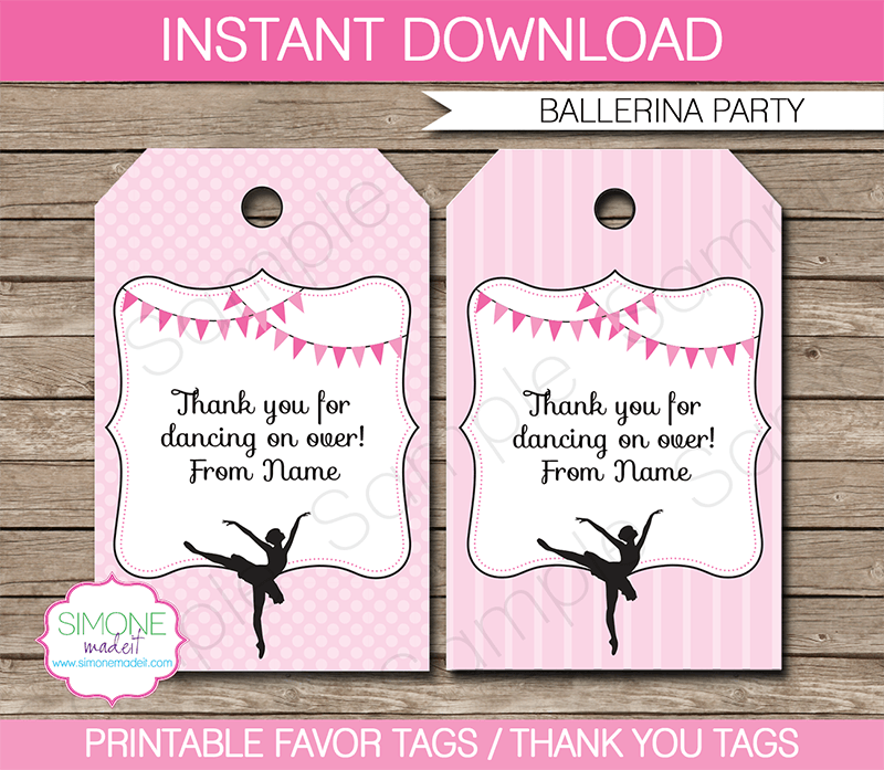 Ballerina Party Favor Tags | Thank You Tags | Birthday Party