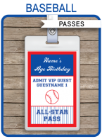 Baseball Party All Star VIP Passes template
