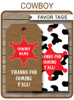 Cowboy Party Favor Tags | Thank You Tags | Birthday Party | Editable DIY Template