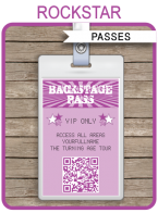Rock Star Party Backstage Passes template – purple