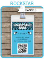 Rockstar Birthday Party Backstage Passes | Party Favors | Concert Theme | Editable DIY Template