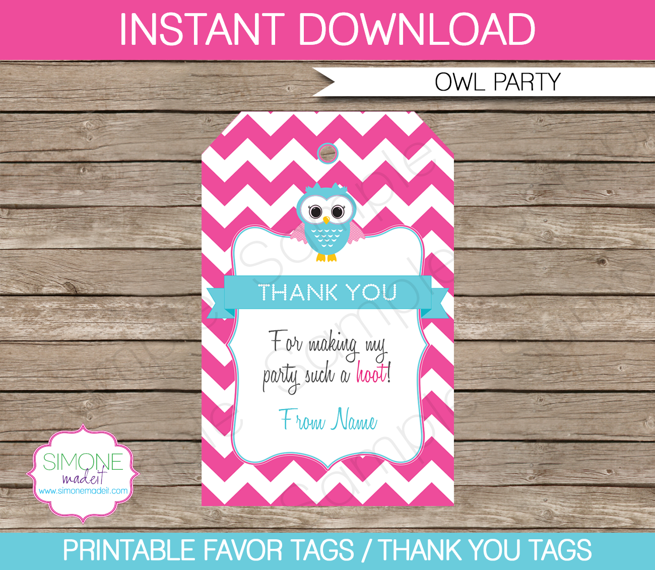 owl birthday party favor tags