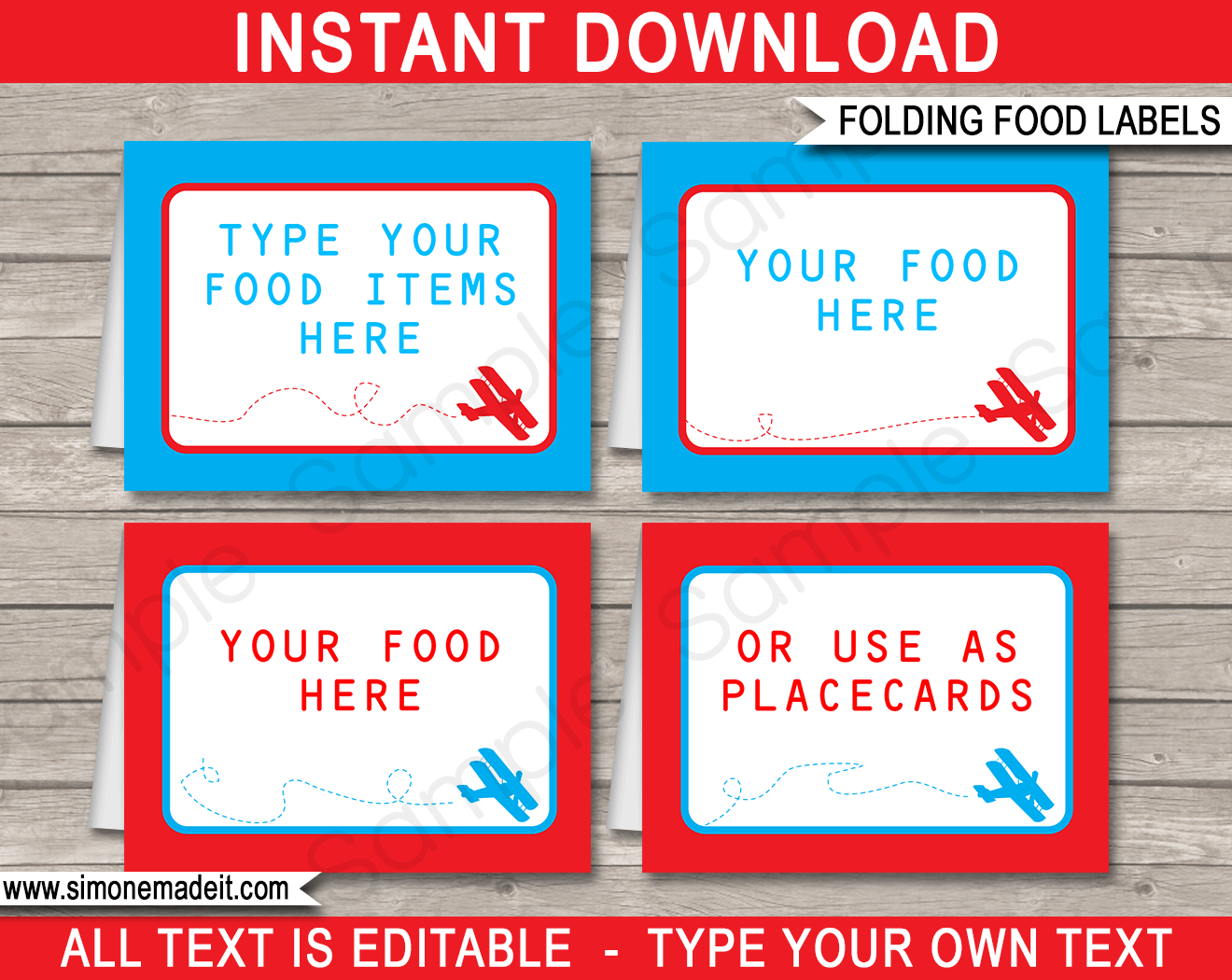 Airplane birthday party food labels place cards for Food label template for party