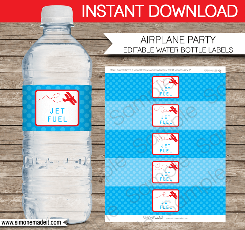 Airplane Birthday Party Water Bottle Labels