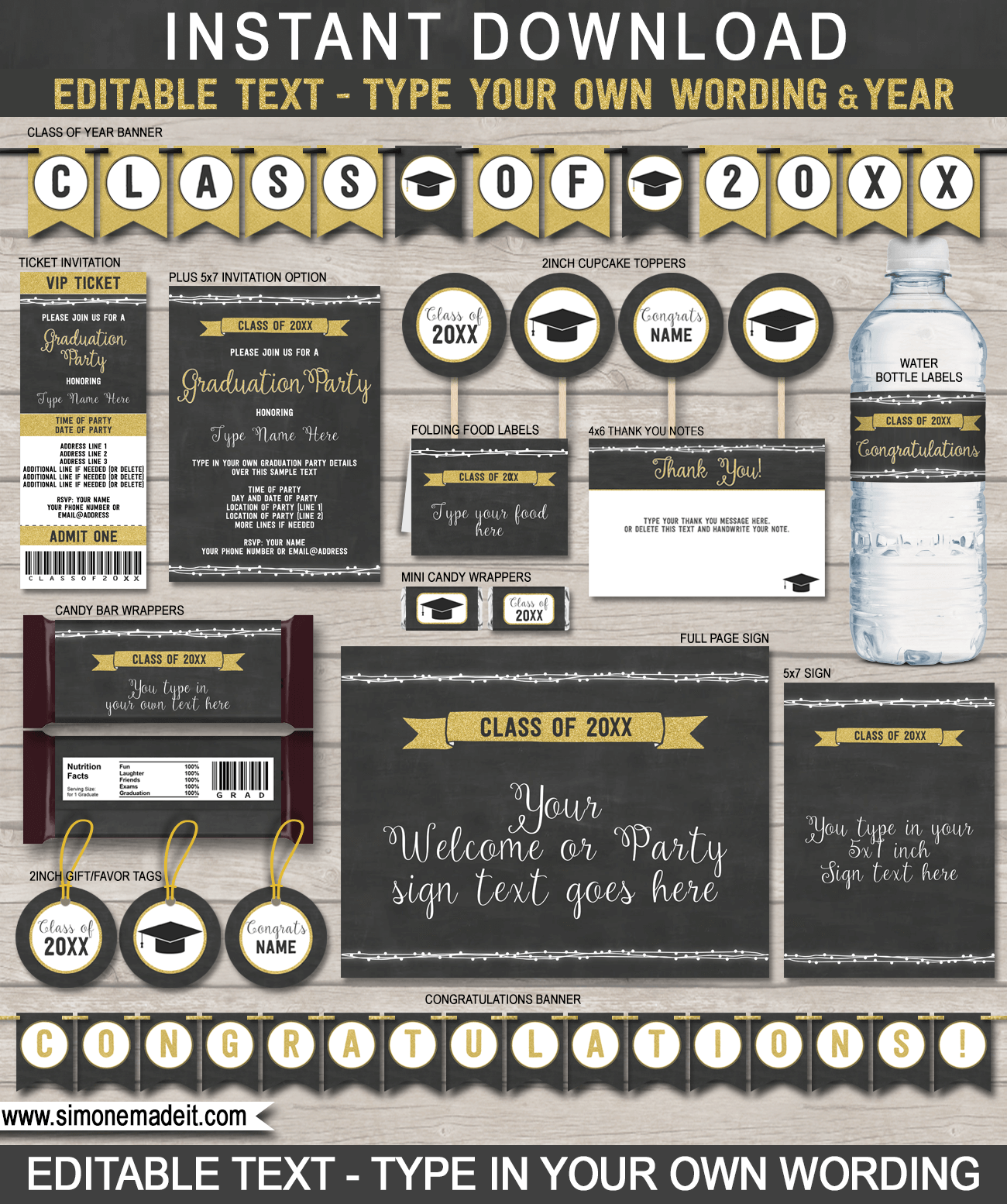 Graduation Party Printables, Invitations and Decorations   Editable ...