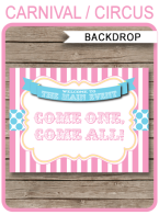 "Carnival Party Backdrop Sign – ""Come One, Come All"" – pink/aqua"