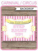 "Carnival Party Backdrop Sign – ""Step Right Up"" – pink/yellow"