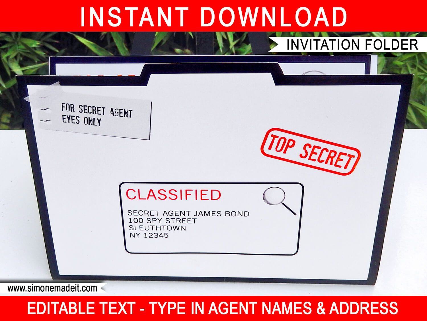 Spy Party Invitation Folder template – Spy Party Invitation