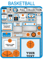 Basketball Printables, Invitations & Decorations – black/blue